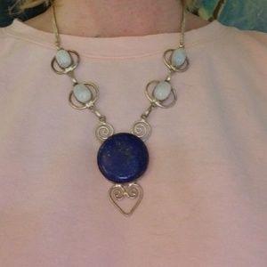 Jewelry - Sterling Rainbow Moonstone & Lapis Lazuli Necklace